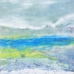 Contemporary Abstract Expressionism oil titled Blue and Yellow Landscape #2 by Artist Todd Krasovetz 4 x 4 feet