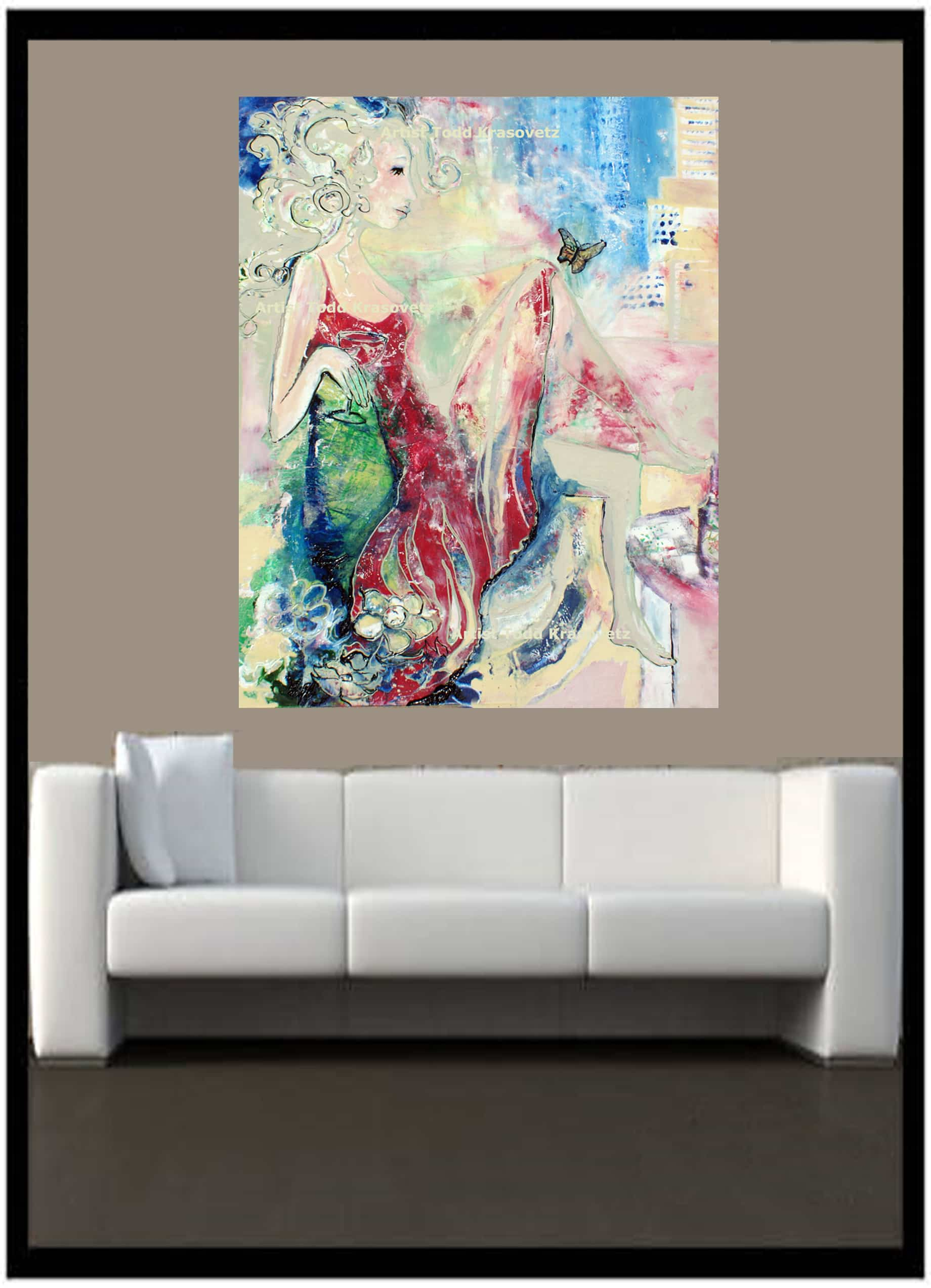 Contemporary Art Oil On Canvas 48 x 60 inches Titled Woman in a Red Dress and Butterfly by Artist Todd Krasovetz