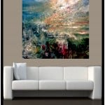 Contemporary Art  Oil on Canvas titled  Crimson Flowers and Forest by Artist Todd Krasovetz watermarked : Sold