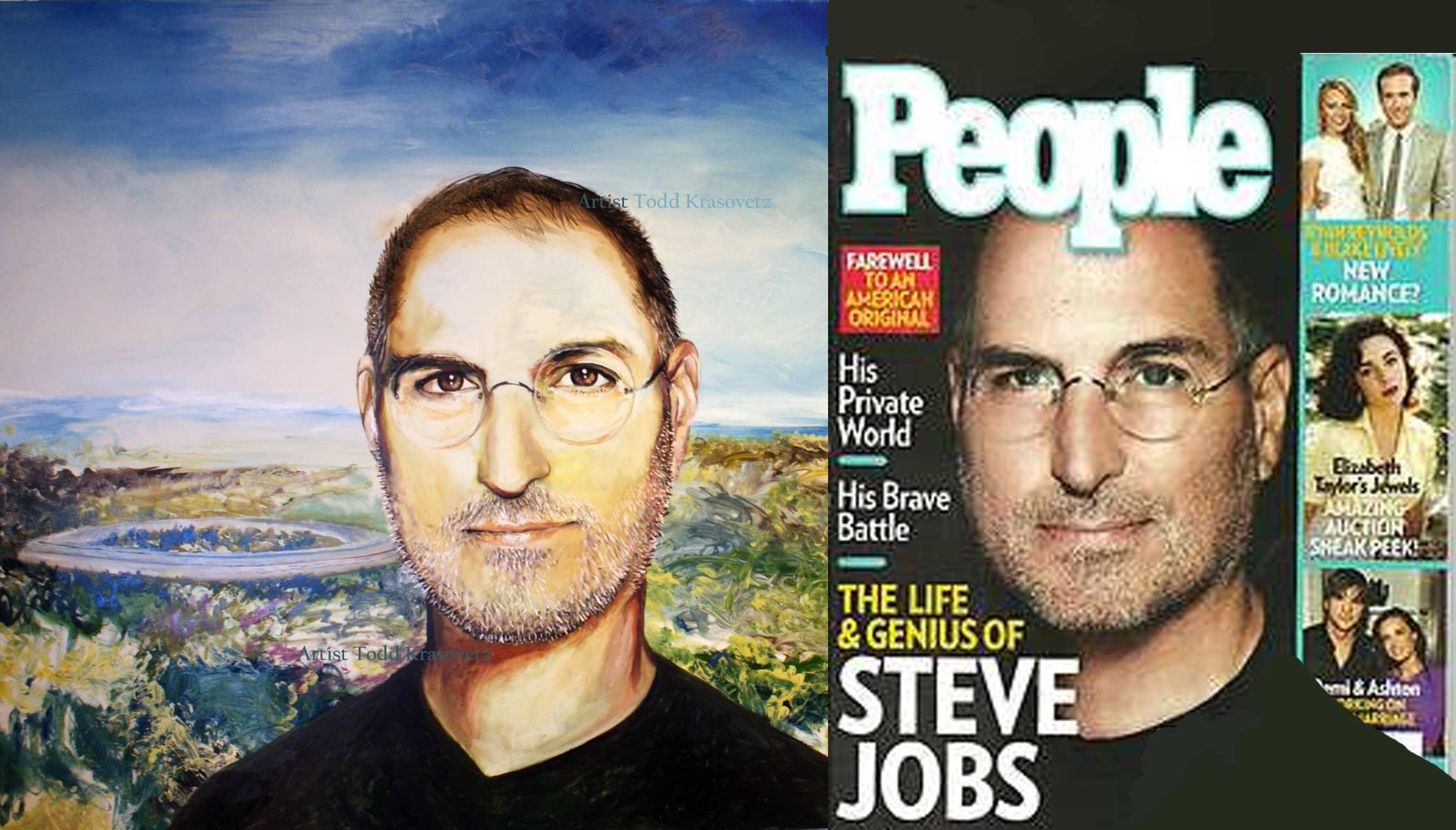 Oil Portrait form Photo by Artist Todd Krasovetz Steve Jobs Original Oil Painting 4 x 4 5 feet watermarked