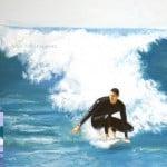 Oil Portrait from Photos by Artist Todd Krasovetz Surfing Rincon Oil on Canvas 4 x 4 5 feet with photo refernece