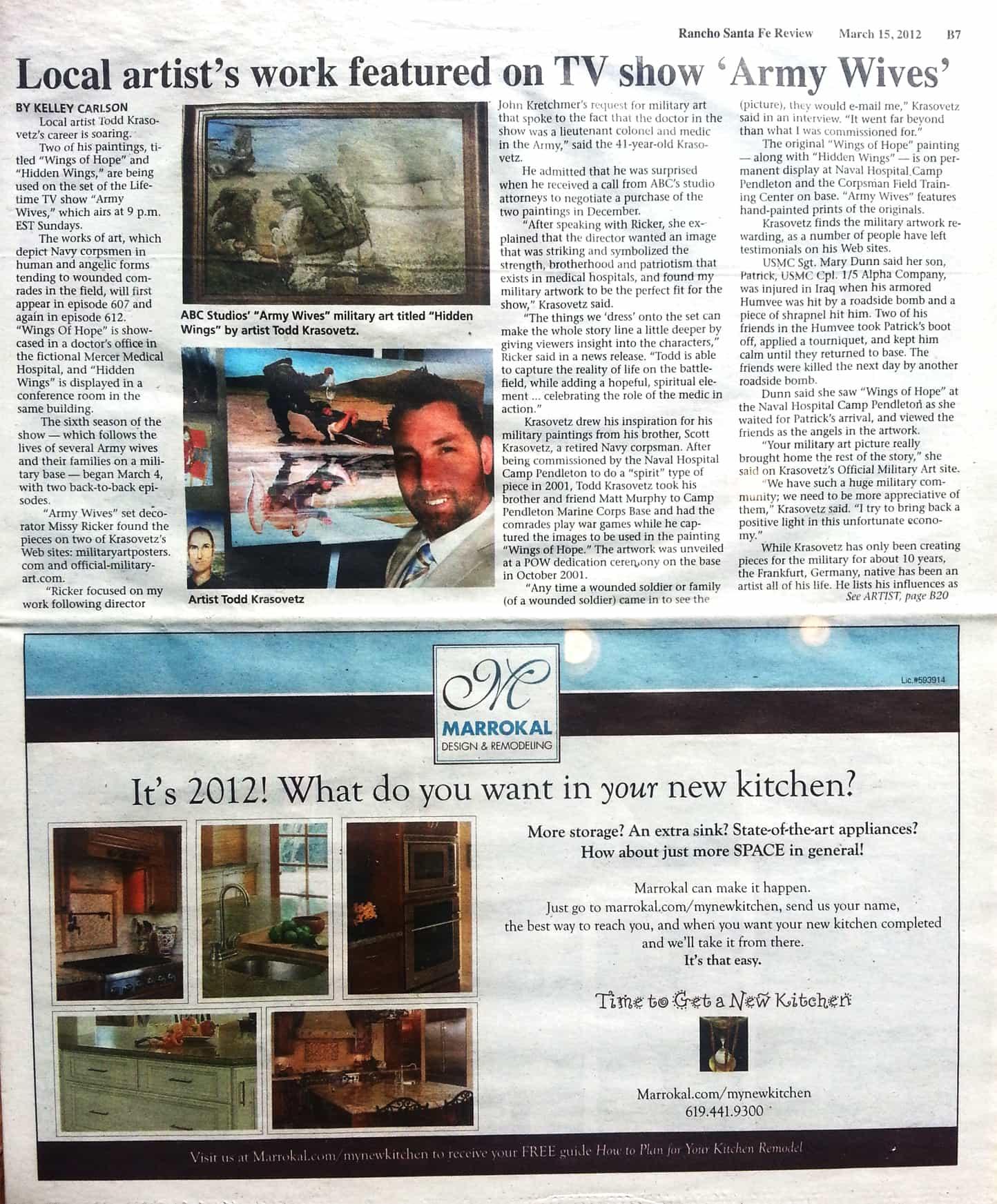 Fine Artist Todd Krasovetz 2012 Rancho Santa Fe Artist News Article