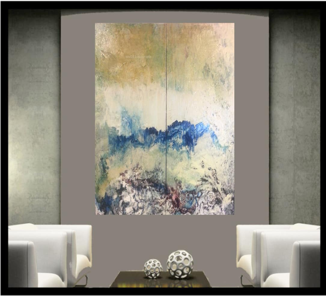Contemporary Art by Artist Todd Krasovetz Interior Image titled Landscape of Yellow and Blue II watermarked