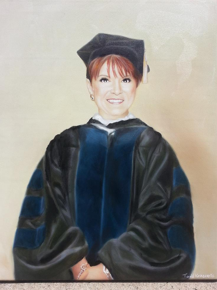 National University Oil Portrait Commission of President Potter by Artist Todd Krasovetz 2013 Oil on CAnvas 16 x 20 inches
